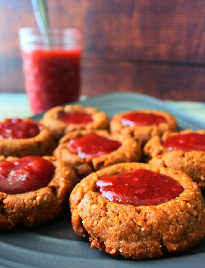 Gluten-Free Peanut Butter and Jam Thumbprint Cookies