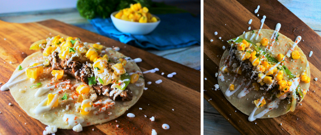 A composite image of a homemade corn tortilla topped with grilled skirt steak, bell peppers and onions and dressed with a corn salsa and jalapeno greek yogurt sauce