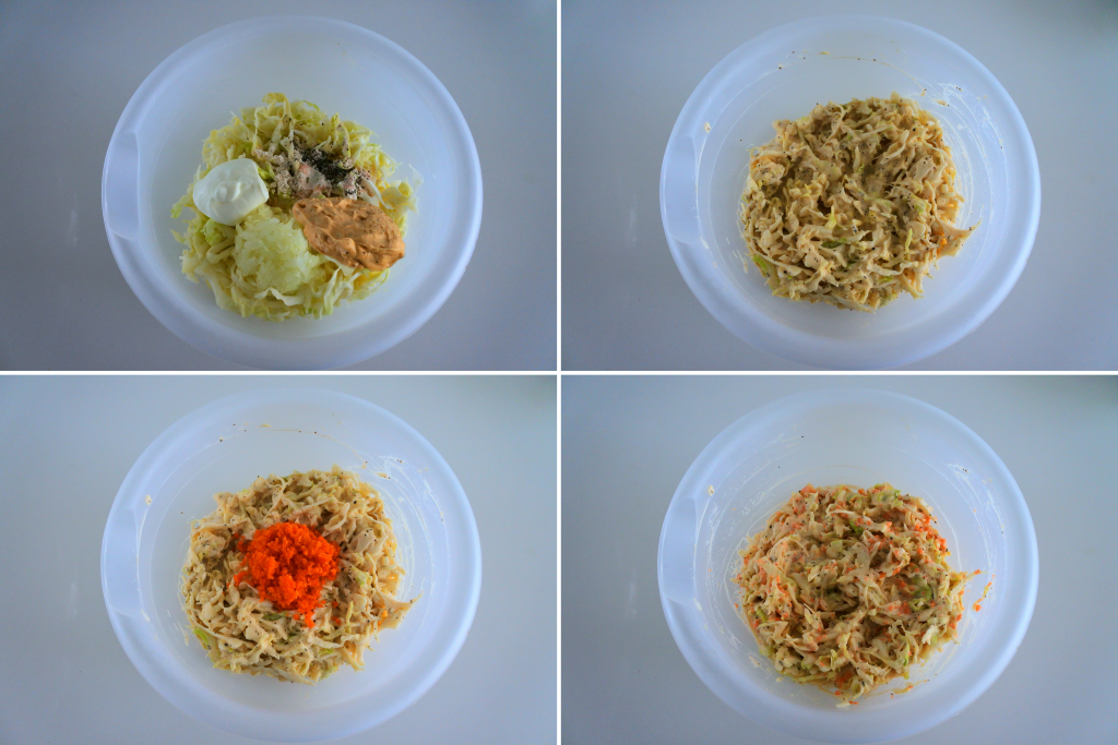 Composite image of ingredients being combined for a creamy coleslaw