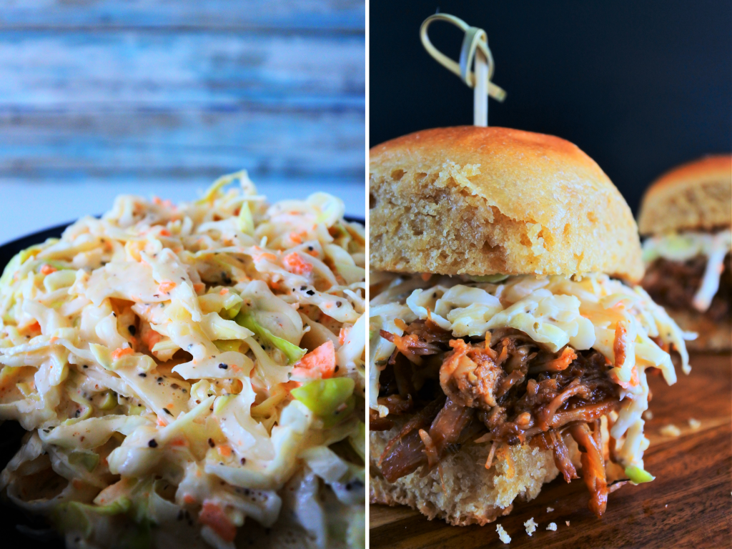 A composite image of creamy coleslaw plated and used as a topping on a pulled pork slider