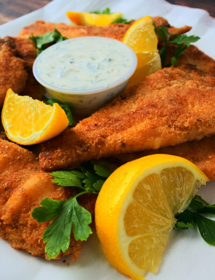 Crunchy Pan-fried Lemon Pepper Fish Fillets with Homemade Tartar Sauce