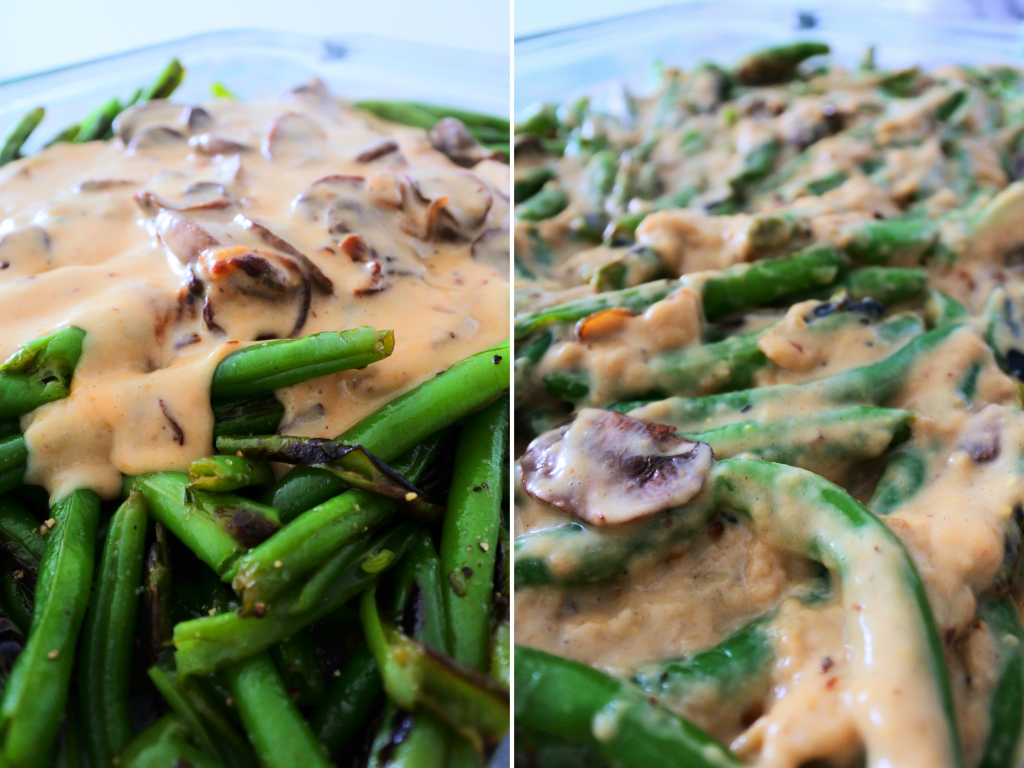 A composite image of skillet charred green beans being tossed in thick and rich mushroom and onion gravy.