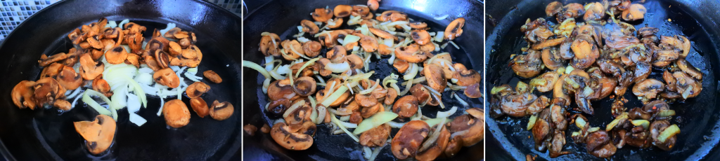 A composite image of mushrooms and onions being caramelized in a skillet