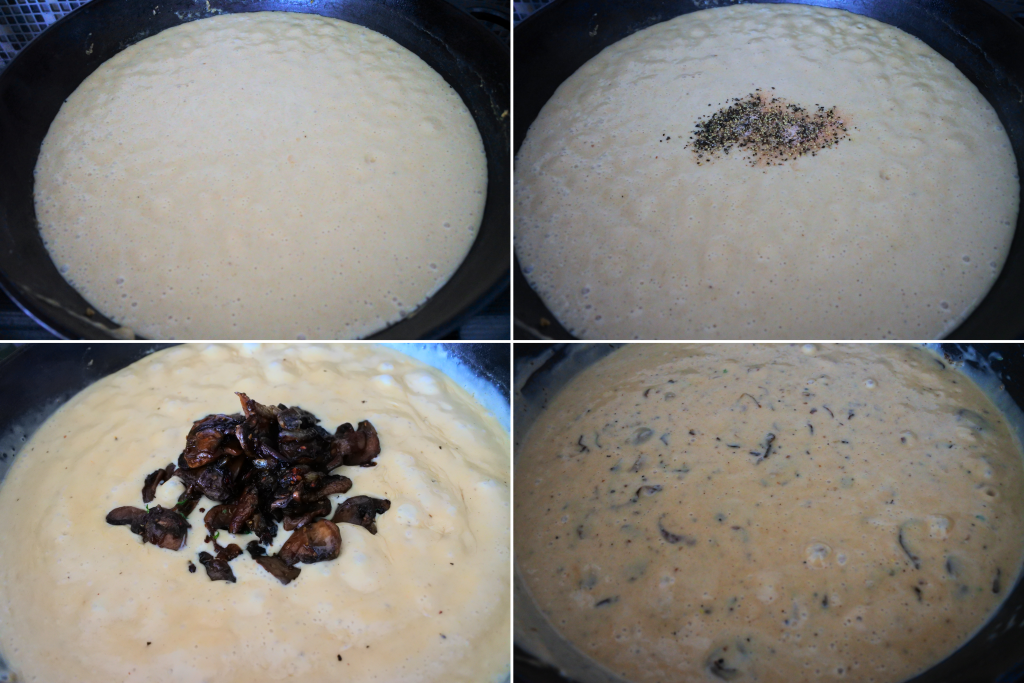 A composite image of a roux sauce being seasoned with salt, pepper and caramelized onion and mushrooms