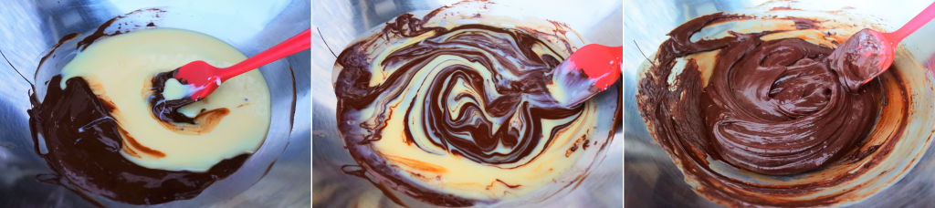 A composite image of condensed milk being added to tempered chocolate and mixed in.