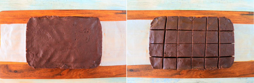 An overhead composite image of set fudge taken out of the container and cut into pieces.