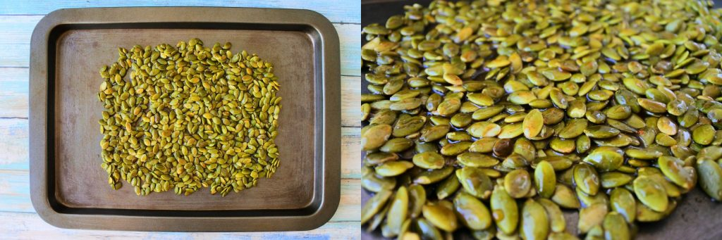 A composite image of unroasted honey coated pumpkin seeds on a tray and a close up shot of the unroasted honey coated pumpkin seeds