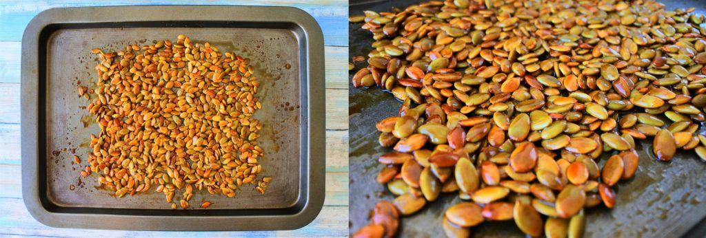 A composite image of honey roasted pumpkin seeds on a tray and a close up shot of the honey roasted pumpkin seeds