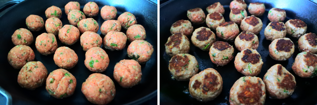 A composite image of meatballs in a skillet being seared