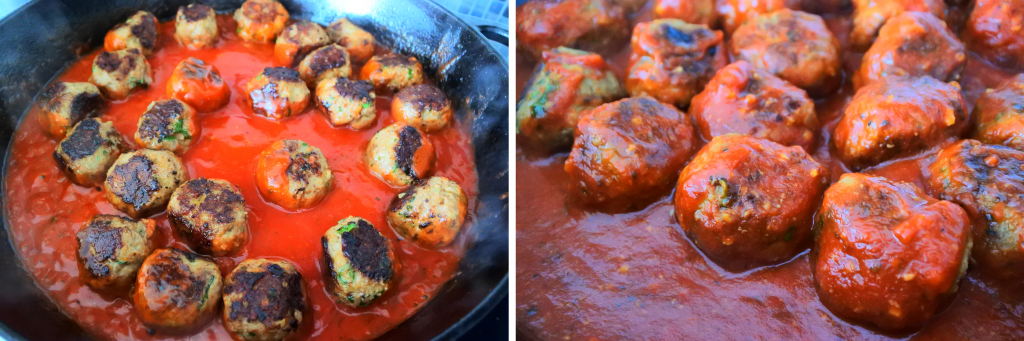 Composite image of a skillet with meatballs and tomato sauce