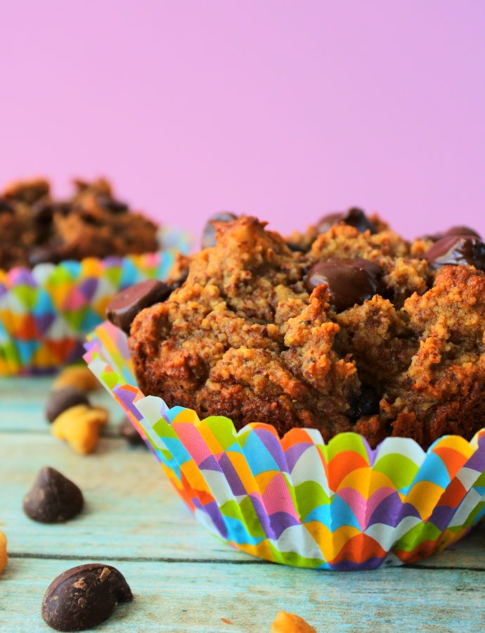 Healthy Banana Nut Dark Chocolate Chip Muffins