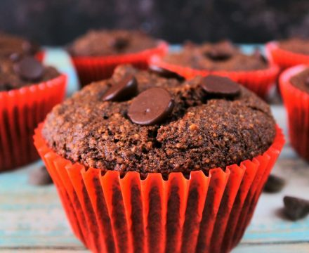 Insanely moist Gluten-Free Double Chocolate Chip Muffins
