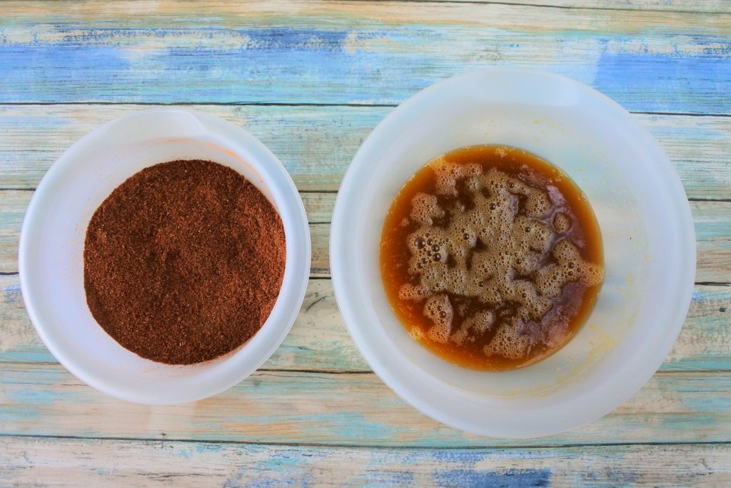 Two bowls of wet and dry ingredients for Double Chocolate Chip Muffins