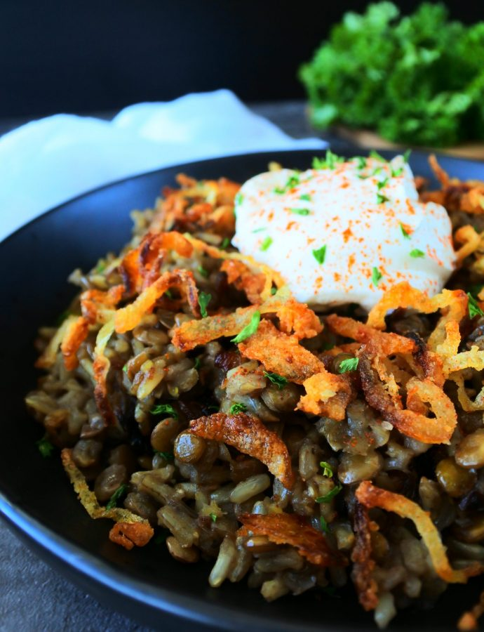 Mujadara – Rice and Lentils with Crispy Onions