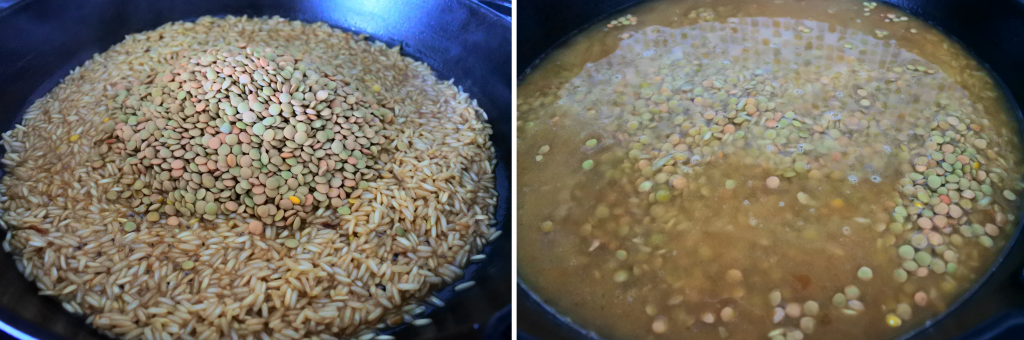 A close up composite image of a skillet with parcooked rice with a pile of dried lentils on the left, and water added in on the right.