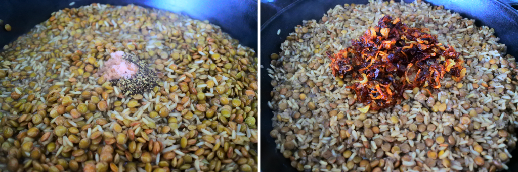 A close up composite image of a skillet with lentils and rice topped with salt and pepper on the left and caramelized onions on the right