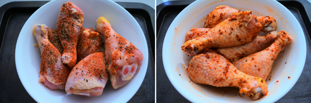 A composite image of a bowl of seasoned chicken drumsticks.