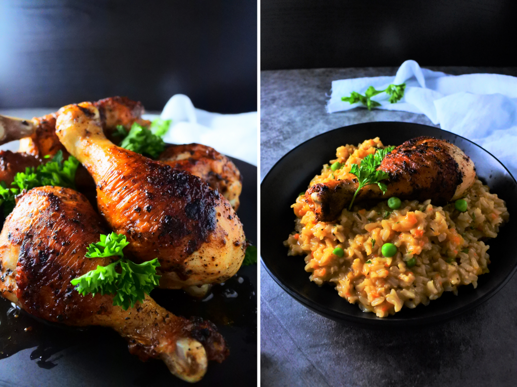 A composite image of plated pan fried chicken drumsticks served with a creamy butternut rice.