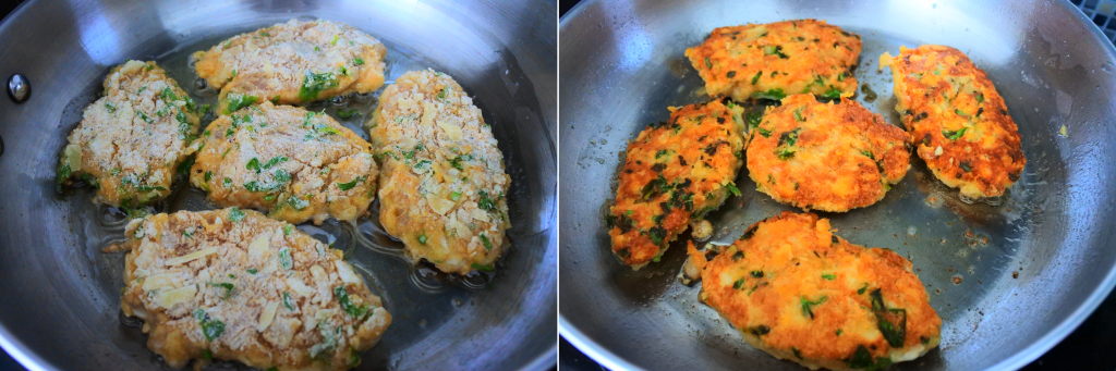 A composite image of herb crusted parmesan chicken cutlets being fried in a pan