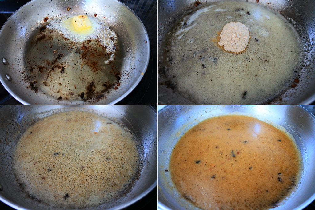 A composite image of a simple lemony gravy being made.
