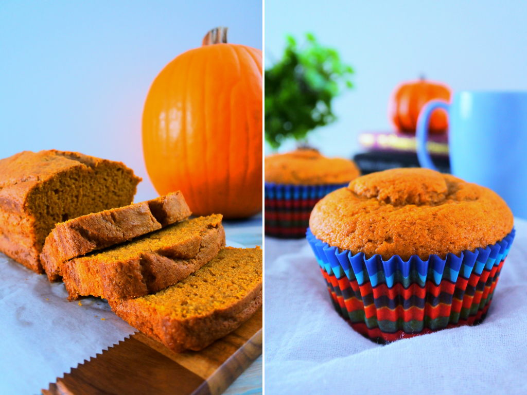 A composite image of a loaf of pumpkin spiced bread and pumpkin spiced muffins