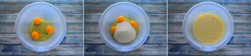 A composite image of a bowl with eggs, and sugar being combined