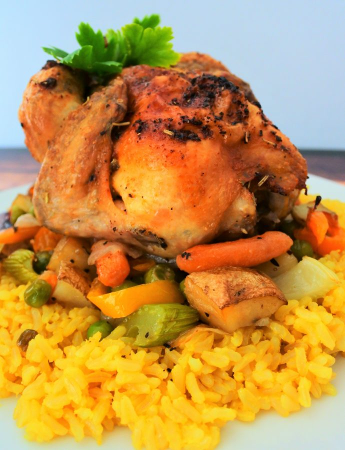 Oven Roasted Cornish Hen On A Bed of Vegetables