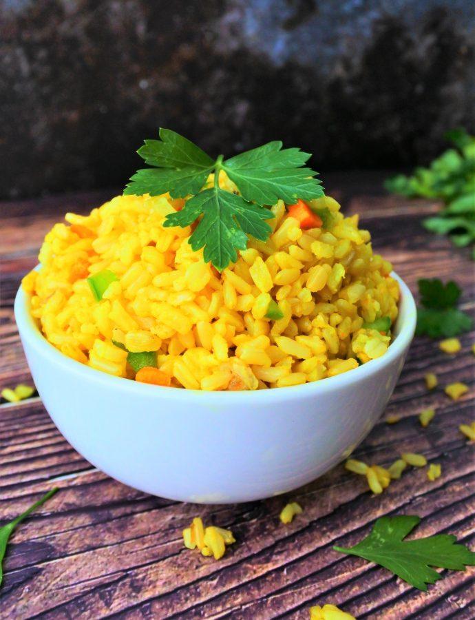 Simple Coconut Saffron Rice