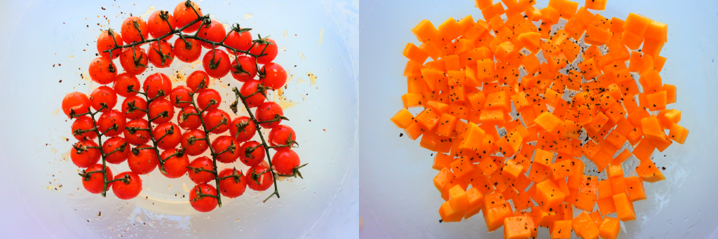 A composite overhead close up image of on the vine cherry tomatoes and cubed butternut squash being tossed in a seasoning