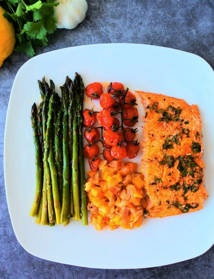Salmon and Vegetable Tray-Bake – Quick, Easy and Clean!