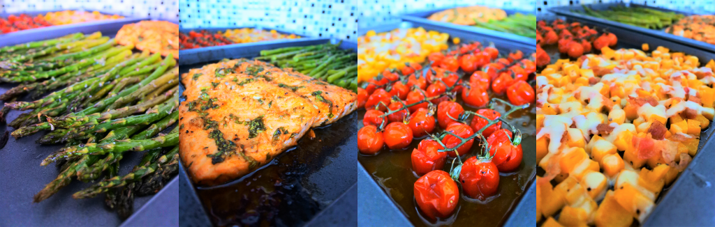 A composite image showing close ups of tray baked asparagus, salmon, tomatoes and butternut squash