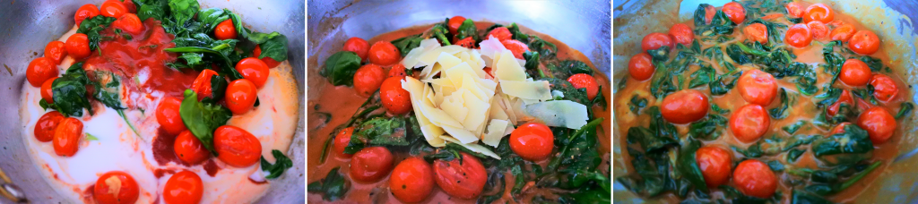 A composite image of a skillet with tomatoes, spinach and a coconut and tomato sauce, with cheese added in, and with the sauce mixed and simmered