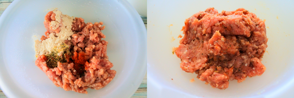 A composite overhead image of ground pork with spices in a bowl (left) and another image of all spices mixed in (right)