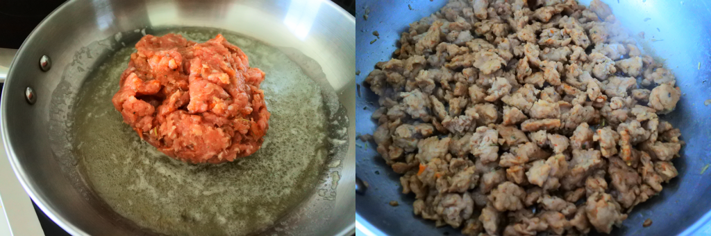 A composite angled image of seasoned ground pork in a skillet with melted butter (left) and another with cooked sausage chunks (right)