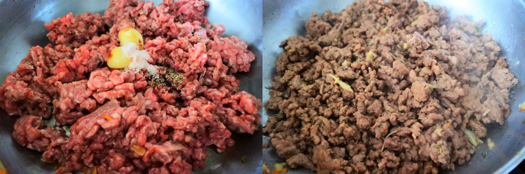 A composite close up image of a skillet with uncooked (left) and cooked (right) ground beef and salt, pepper, and roasted garlic cloves