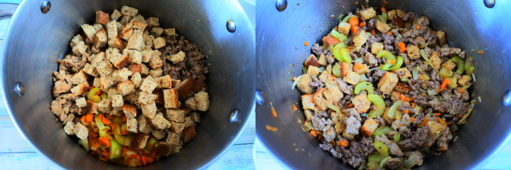 A composite overhead image of a deep pot with elements for a thanksgiving stuffing/dressing with croutons added on top and another with all elements mixed in