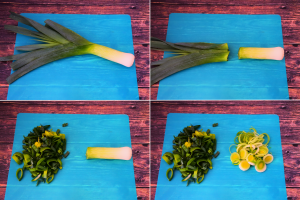 A composite image of a large leek being chopped in stages