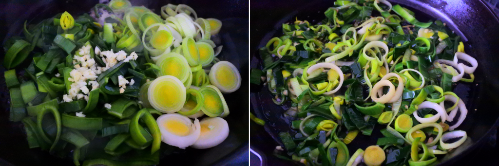 A composite image of chopped leeks and garlic in a pan that has been sauteed