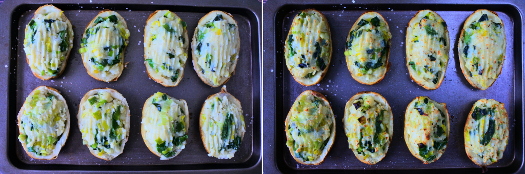 A composite image of twice baked potatoes with leeks on a baking tray