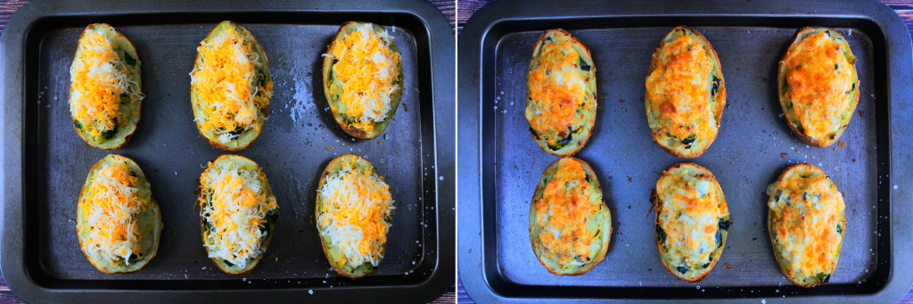 A composite image of a tray of twice baked potatoes with leeks topped with cheese and baked